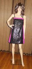 RACHEL ROY BANDEAU SEQUIN DRESS BLACK / PINK SIZE 0 NEW $348