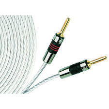 2x QED Silver Micro Speaker Cable 3m | TERMINATED QED Airloc Forte Banana Plugs