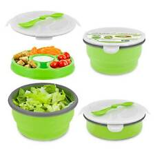Smart Planet Eco Deluxe Salad Bowl Green Collapsible To-Go Food Lunch Container