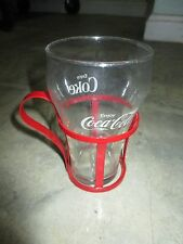 Vintage Retro Coca-Cola Coke Clear 12oz Glass with Red Metal Holder