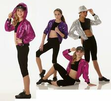 Dancin Machine Dance Costume PURPLE Sequin Hoodie Jacket Clearance Child X-Small
