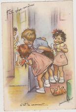CARTE POSTALE FANTAISIE illustrée Germaine BOURET-FETE DES MERES-3 ENFANTS-ours