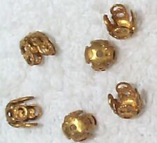 VINTAGE FINE FILIGREE BRASS BEAD CAPS JEWELRY FINDINGS 12 PCS