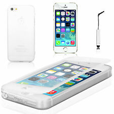 Blanco Transparente Flip Funda Protectora Para Apple Iphone 5 5s / Slim Gel Protector