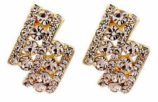 CLIP ON EARRINGS - gold plated luxury stud earring with gold crystals - Esme G