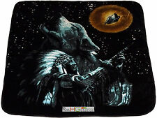 79x94 Queen Native American Indian Chief Howling Wolf Full Moon Plush Blanket