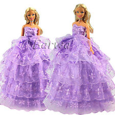 Handmade Wedding Dress Gown Clothes Wears Outfits For Barbie Doll Xmas Gifts