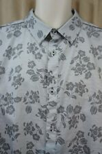 IZOD Mens Casual Shirt Sz XXL Grey Floral Cotton Long Sleeve Button Down