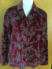 Chico's Woman's Deep Red Floral Print Jacket Size 2  Large 12/14