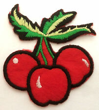 3er Kirschen Aufnäher Aufbügler cherries patch Kinder cherry Kirsche Rockabilly