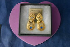 Beautiful Gold Color Earrings With White And Blue Stones 5 Cm.Long Without  Box