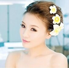 3 Pcs Set Pearl Hawaiian Plumeria White Flower Foam Hair Clip Hair Accessory