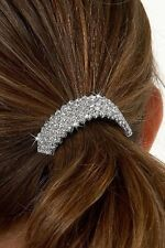 Ponytail holder hair barrette clip rhinestones clear crystals wedding bride prom