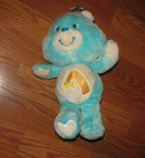 "Vintage Care Bears WISH 13"" Plush Stuffed Animal Toy 1983 Kenner AQUA BLUE COLOR"