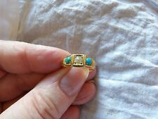 18CT SOLID YELLOW GOLD NATURAL TURQUOISE & PEARL SET GENUINE VICTORIAN RING K