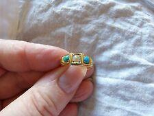 Solido 18ct Giallo Oro Naturale Turchese & Pearl Set VERA ANELLO VITTORIANO K