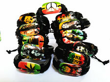24pcs mixed different designs Bob Marley Reggae Rasta leather bracelets