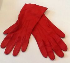 Vintage Red Leather Driving/Cycling/Winter Womens Gloves Size 6.75/S/XS