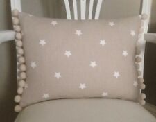 Beige/Taupe With White Stars Fabric & Pom Pom Trim Cushion Cover