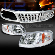 99-03 F150 Chrome SMD LED DRL Headlights+Chrome Vertical Hood Grille