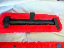 Pony Size Fleece Harness Saddle & Breast Collar Pads Set Amish Made Red