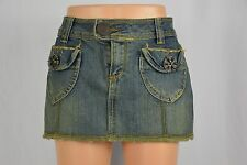 Vanilla Star Womens 3 Dark Wash Frayed Hem Short Blue Jean Denim Skirt