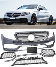 For 15-16 W205 Sedan 17 C205 Coupe W/ PDC C63 Style Front Bumper Cover W/ Grille