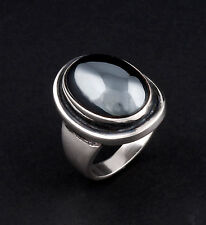 Georg Jensen Sterling Silver Ring # 46A with Hematite. Perfect! RARE!