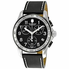 New Victorinox Swiss Army Men's 241404 Chrono Classic Black Dial Watch WARRANTY