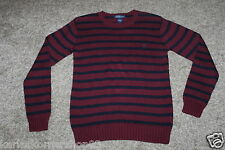 NWT Polo Ralph Lauren Striped Boys Burgundy Navy Blue Crewneck Neck Sweater L