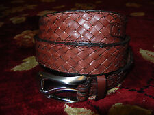 $78 Tommy Bahama Mens Brown Braided Belt Size 34 Authentic Genuine Leather