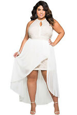 Plus Size Clothing 5X Hi Low Hem White Chiffon Overlay Dress SEXY Women's 18 20