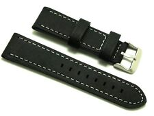 22mm Black Old Style Crazy Horse Leather Replacement Watch Strap Citizen Watches