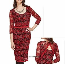 Vestido De Fiesta PER UNA Rojo/negro de malla de encaje Floral Bordado Talla 16 segundo-Nuevo