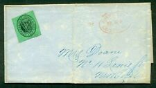 1849 2¢ Boyd's City Express (2LO7) tied w/red Express Co. hdstp, Adams Ex sender