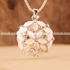 Fashion Charm Opal Flower Pendant Chain Crystal Choker Chunky Statement Necklace
