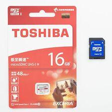 Toshiba 16GB 16G 16 GB 48MB/s Micro SD Micro SDHC Memory Card C10 Retail&Adapter