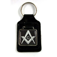 "Masonic  ""G""  Freemason Key Ring - Black, black leather key ring fob FREE UK P&P"