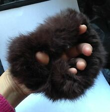 brown real genuine rabbit fur elastic stretchy hair band bobble tie scrunchies