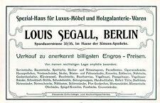 Louis Segall Berlin SPEZIALHAUS FÜR LUXUSMÖBEL Historische Reklame um 1910