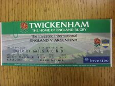 25/11/2000 Rugby Union Ticket: England v Argentina [At Twickenham]
