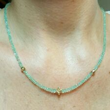 15ct Colombian Emerald solid 14k gold flower nugget necklace