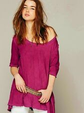 NEW ANTHROPOLOGIE FREE PEOPLE MELROSE SWING TUNIC TOP IN BURGUNDY SIZE XS
