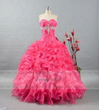 New Hot Pink Beaded Quinceanera Dress Ball Gown Prom Party Dress Evening Size 8