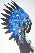 80cm  SIZE PRINT INDIAN BLUE FEATHER NATIVE AMERICAN street art painting  canvas