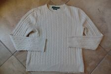 RALPH LAUREN Cable Knit Cream 100% cashmere Sweater M