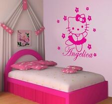 HELLO KITTY Vinyl Wall Decal Personalized Name Kids Room Decor Color Choices