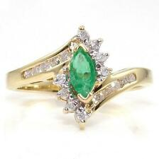 10K Yellow Gold Natural Emerald Diamond Ring Size 6.5