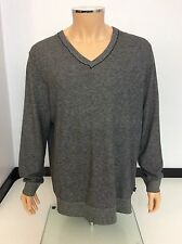 Hugo Boss Men's Cotton Wool V Neck Jumper, XXL, 2xl, Black Grey White, Vgc