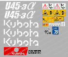KUBOTA U45-3 MINI DIGGER COMPLETE DECAL SET WITH SAFETY WARNING SIGNS